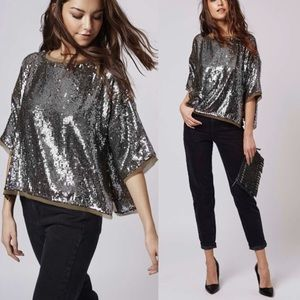 TOPSHOP Gunmetal Green Oversized Sequin Top Blouse